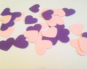 Pink and Purple Heart confetti weddings parties babyshower candy buffet table