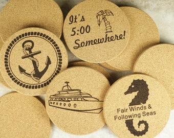 Custom Coaster,Engraved Coaster,Custom Engraved Coaster,Custom Cork Coaster,New House Gift,Themed Cork Coasters,Cork Coasters,Round Coasters
