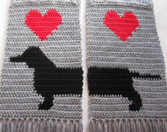 Knitted Dachshund Scarf.  Gray knit scarf with red hearts and dachshund dogs. Wiener dog scarf. Weenie dog gift