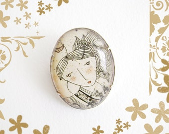 Simple Pin - April. Glass brooch. Romantic. Vintage. Girl illustration.