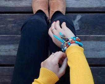 Turquoise Gemstone Stretch Bracelet, Beads  bracelet , Women's bracelet, gift for her, bracelet for her, Everyday bracelet, Bracelet for MOM