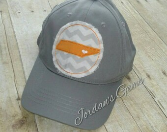 """Tennessee """"Knoxville Love"""" Embroidered Raggy Patch Solid Grey Baseball Cap Hat"""