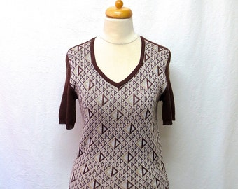 1970s Vintage Knit Jersey Top / Brown & White Geometric Pullover