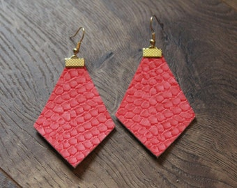 Naked Phoenix Leather Earrings - Alligator Coral