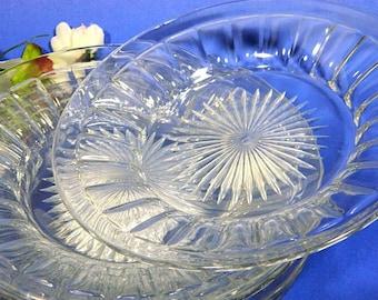 Five Heisey Glass Coarse Rib Deep Salad Plates