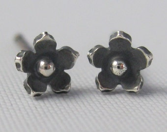 Tiny Sterling Silver Studs - Gift for Her - Sterling Silver Flower Earrings - Stud Earrings - Solid Sterling Silver
