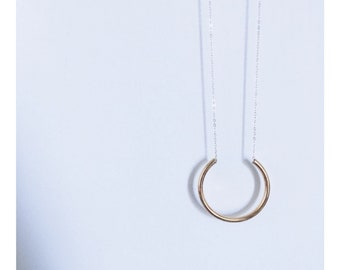 Long Sterling Silver + Brass Cut Out Hoop Necklace