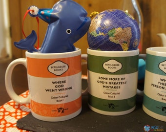 Set of 4 Coffee Mugs - Hitchhiker's Guide to the Galaxy - Oolon Colluphid's Philisophical Works