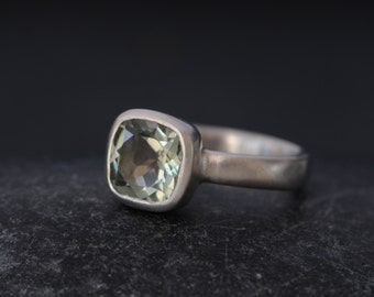 Green Amethyst Ring - Amethyst engagement Ring - Square Green Amethyst Ring - Green Gemstone Engagement Ring - Made to order - FREE SHIPPING