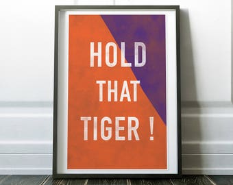 Hold That Tiger - Woodblock Style Print on Canvas - Crossed