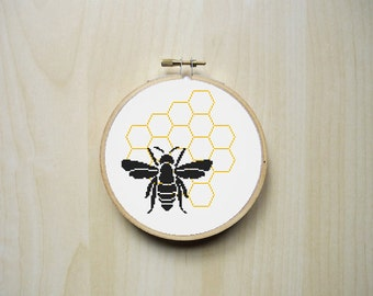 Bee Honeycomb Modern Counted Cross Stitch Pattern | Instant Download PDF