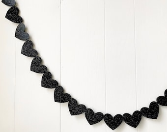 Black Sparkle Heart Garland Black 5 ft (Ready To Ship)