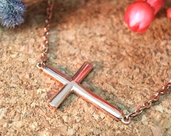 Cross Bracelet | Solid 14K Rose Gold | Chain Bracelet | Religious Gift | Religious Jewelry | Fine Jewelry | Free Shipping