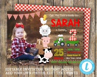 Farm Birthday Photo Invitation, INSTANT DOWNLOAD, Editable with Templett, Printable, Digital, Farm Animals Tractor Invite, Barnyard Party