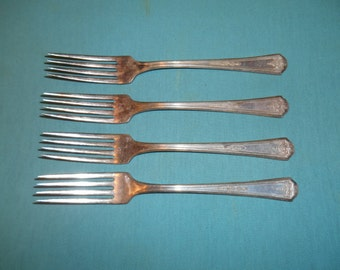 """Four (4), Silver Plated, 7 1/2"""" Dinner Forks from, Tudor Plate/ Oneida, in the Queen Bess 1, 1924 Pattern."""