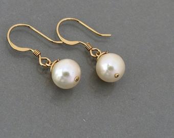 Pearl earrings dangle earrings, white freshwater pearl earrings in gold or silver, bridesmaid wedding jewelry gift, by balance9