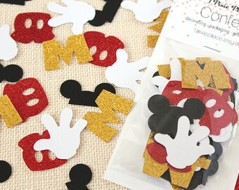 Mickey Mouse Club House Glitter Confetti - 50 pieces - Disney Theme, Table confetti, Party Decorations