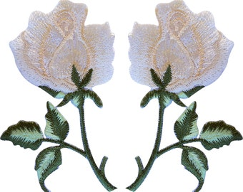 Pair of Cream Rose Patches Iron On Sew On Patch Badges Embroidered Flower Roses