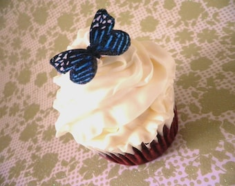 Edible Butterflies - 20 small blue and white