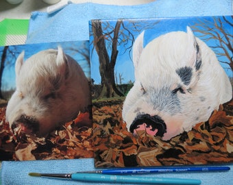 Pet Portrait 6 x 6 inch Ceramic Tiles Hand Painted and Made to Order using your photo Any Animal Ziggy the Traveling Pig by Shannon Ivins