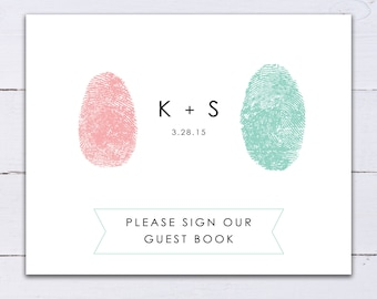 Sign Our Guestbook Please Sign Fingerprint Heart Custom Personalized ThumbPrint Wedding Guest Book