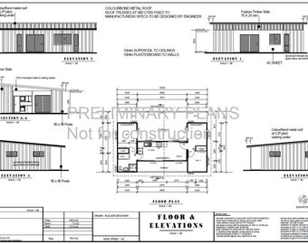 Shipping Container Blueprint Plans For Sale  |  3 containers combined floor plans | 840sq foot  |  78m2 | 2 Bed