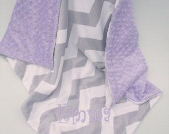 Lavender minky dot and gray chevron minky baby blanket