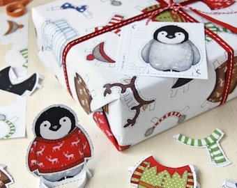 Penguin Dress Up Activity Wrapping Paper Set – Interactive Christmas Wrapping Paper - Penguin Paper Toy - Baby Penguin
