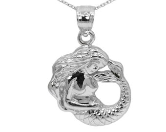 10k White Gold Mermaid Necklace