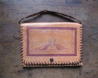 Vintage Leather Tooled Purse India TAj Mahal Deer
