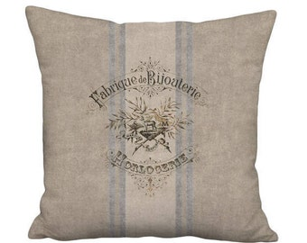16x16 Inch - READY TO SHIP - Linen Cotton French Country Farmhouse Grain Sack Style Pillow with Insert - French Bijouterie Pillow