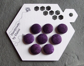 Fabric Covered Buttons - 8 x 15mm Buttons, Handmade Button, Purple Buttons, Veined Buttons, Amythyst Buttons, Damson Buttons, Plum, 2221