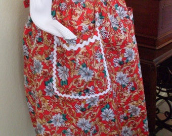 Red Christmas Apron Vintage Style with Poinsettia's Hostess Apron