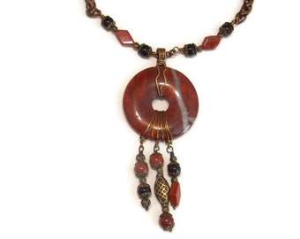 Stone Necklace Wire Wrapped Necklace Red Jasper Necklace Stone and Bronze Necklace