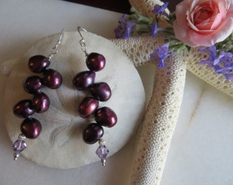Freshwater Pearl Earrings, Purple Swarovski Crystal Earrings, Sterling Silver Earrings, June Birthstone Earrings, 30th Anniversary Earrings