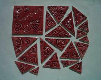 20WLH - 20 pc  LOVE HEART Stamped Triangles, Lg Square - Ceramic Mosaic Tiles Set