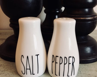 Salt and pepper shakers, Rae Dunn inspired, vintage decor, farmhouse decor, farmhouse table, salt cellar, kitchen decor, wedding, gift, cute