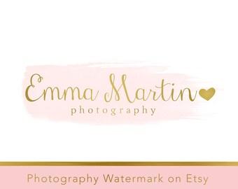 Instant download logo Premade Logo - Photography Watermark - Gold Logo - Heart Logo - Heart Watermark - Whimsical Logo - Watercolor Logo 254