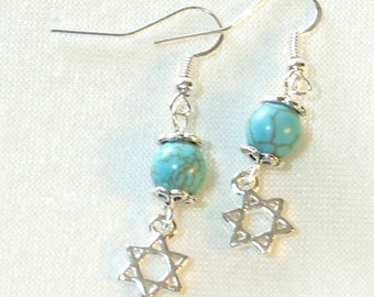 Star of David Earrings - Howlite Turquoise