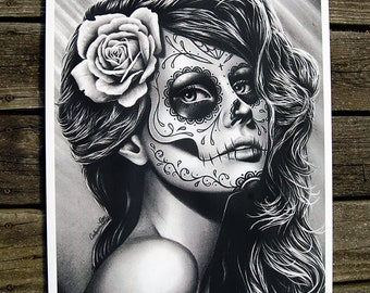 18x24 in Art Print - Duality - Pretty Black and White Day of the Dead Sugar Skull Girl Poster