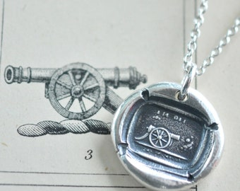 cannon wax seal necklace - I'm off! - historic wax seal jewelry