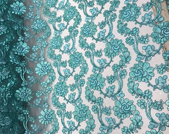 Forbidden Flowers With Sequins Corded Lace On Mesh Fabric By The Yard Used For -Dress-Bridal-Fashion [Aqua] FREE SHIPPING!!!