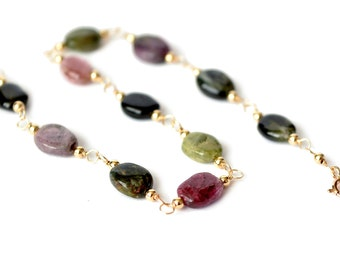 Natural Multi Tourmaline Wire Wrapped Chain Bracelet in 14K Gold Fill