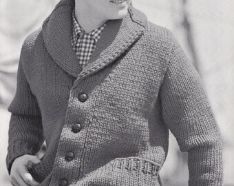 Knit Mens Cardigan with Shawl Collar Vintage Knitting PDF PATTERN Retro Mad Men
