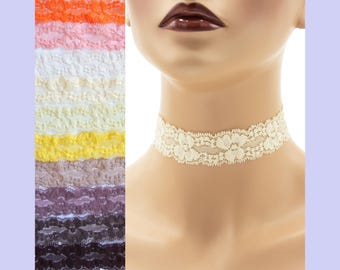 Stretch Lace Choker 1 - 1.25 inches wide Brown Orange or Yellow Custom made Your Length and Color shade (approximate width 25 - 30 mm)