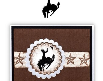 BUCKING BRONCO small, unmounted rubber stamp, rodeo, cowboy, western, horse, silhouette, ranch life, Sweet Grass Stamps No.1