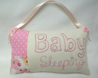Baby Girl Hand Embroidered Door Pillow, Baby Sleeping, Baby's Room Decor