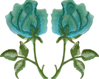 Pair of Turquoise Green Rose Patches Iron Sew On Embroidered Flower Badge Patch