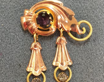 Unusual Gold Filled Van Dell Brooch with Purple and Gray Rhinestones- Pretty! Free shipping