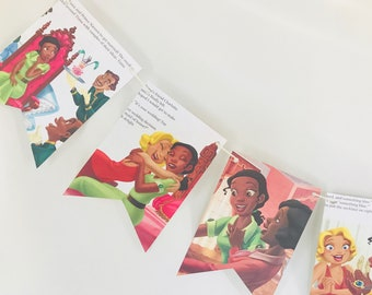Tiana's Royal Wedding Story Book Pages Bunting Pennants Nursery Decor Bridal Shower Birthday Party Garland Flags